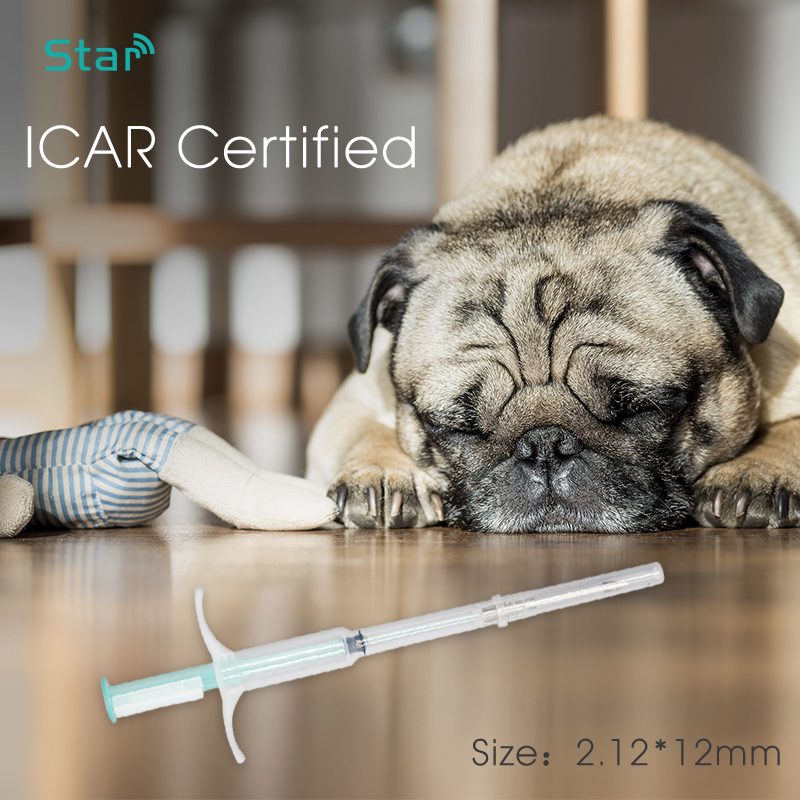 (20pcs/lot) 2.12*12mm Pet Syringe Animal Microchip FDX-B 134.2khz Dog ID Implant Pet Chip Needle Vet RFID Injector Syringe
