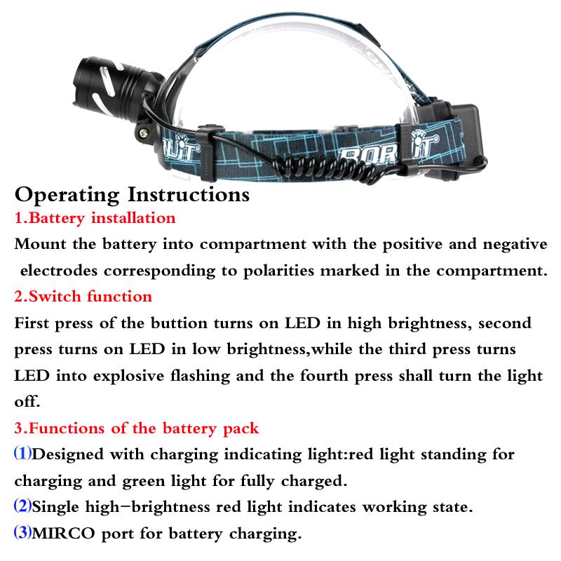 Boruit led light Rechargeable headlight High power head lamp Flashlight Headlamp 1000 Lumens Headlamps power by 3x AAA batteries (8)