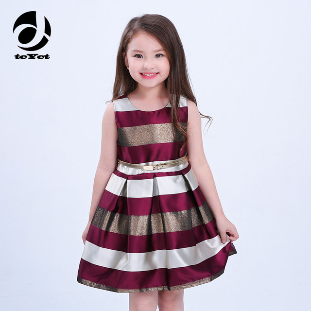 93cd5f08acfa 2017 Strip Dresses For Girls Age 2-10 11 12 13 Years Sleeveless Princess  Party Teenage Dress Girls Lush Dress