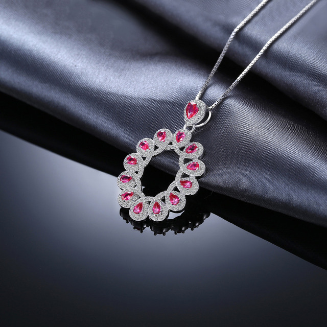 2.9ct Created Rubies Cluster Pendant  3