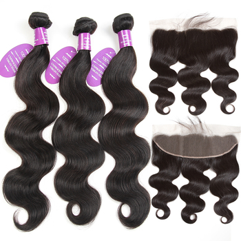 QueenLike Products 2 3 4 Peruvian Body Wave Bundles With Frontal Closure 100% Human Hair Non Remy Lace Frontal With Bundles image