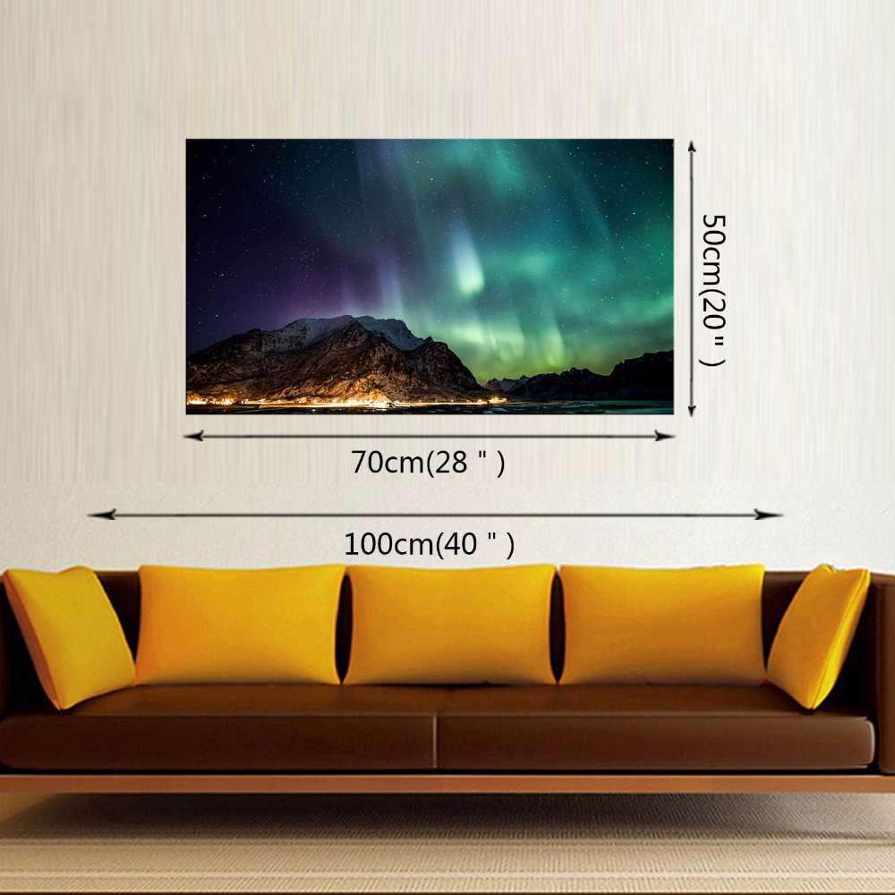 1 Północna Światła Panelu Płótnie Malarstwo Zielona Aurora Płótnie Obraz Nowoczesny HD Drukuj Wall Art Dla Living Room Decor Oprawiona