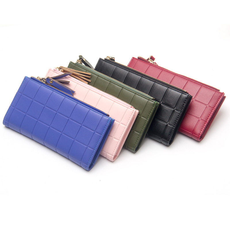 New Womens Zipper Wallets PU Leather Ladies grid Purses Lady Coin Pocket Red Long Wallet Female Clutch Bag For Women Gift NY138