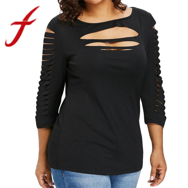 2ab4b3fb3a6 Feitong New Womens Hole Hollow T Shirts Sexy Open Chest Three Quarter T-Shirt  Tops