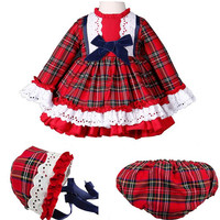 2019 Toddler Girl Party Dress Kids Grid Layered Dress Boutique Ball Gowns Children Vintage Party Dresses With Bows Hats Pants