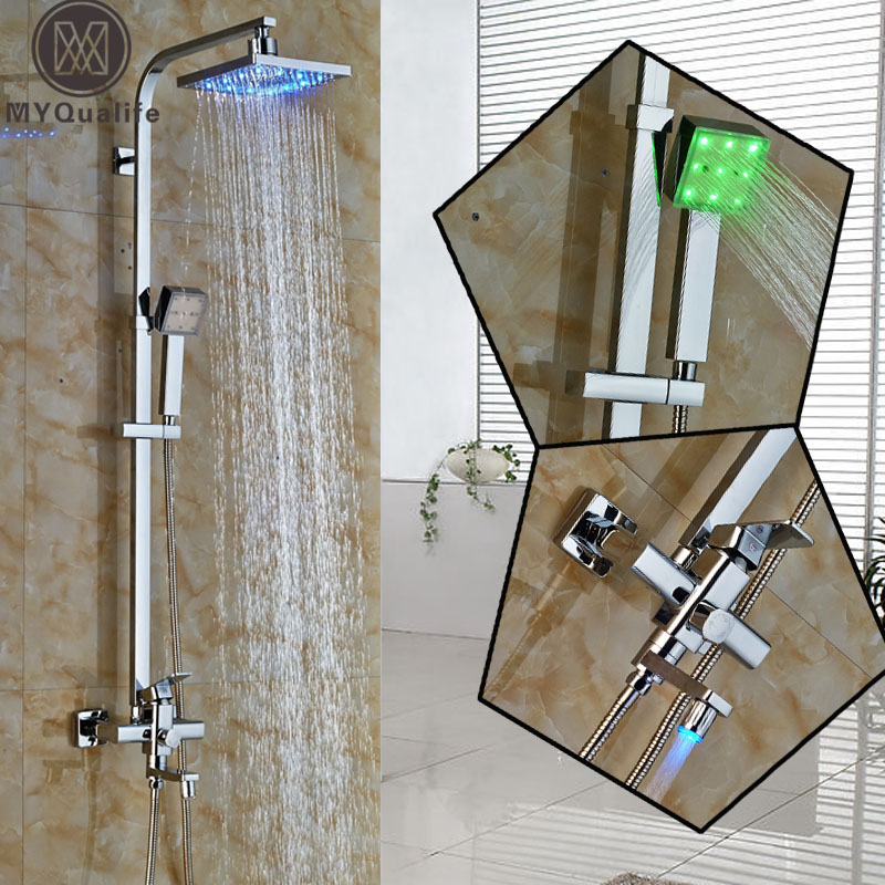 Polished Chrome LED Rainfall Shower Faucets + 8 led Light Shower Head with handheld shower Swivel tub spout