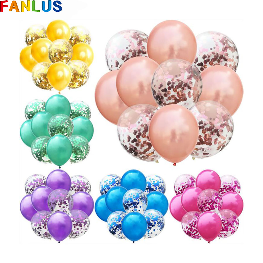 10pcs/lot Gold Confetti Balloons Rose Latex Balloon Globos Happy Birthday Unicorn Party Decorations Kids Helium