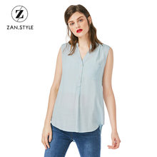ZAN.STYLE Women Sleeveless V-Neck Blouse Rayon Button Front Chest Pocket Casual Long Women Shirts Solid Women Tops Chemise Femme(China)