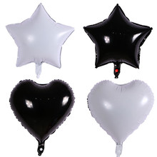 18inch white&black star heart balloon Foil Helium Balloons Wedding Birthday Party decorations Decor Baloons Event Party balloon(China)