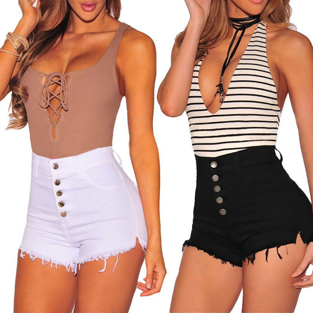 Hot Summer Women Casual High Waisted Short Mini Button Short Pants Black White Sexy Shorts 1