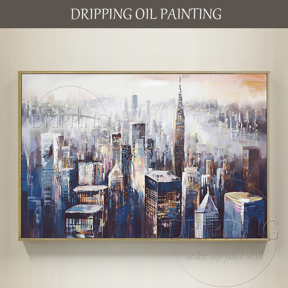Excellent Artist Hand-painted High Quality Abstract New York Landscape Oil Painting Abstract City Skyscrapers Oil Painting