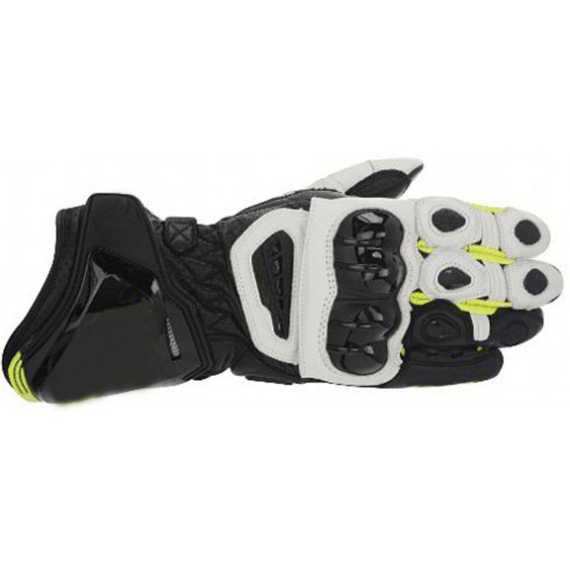 цена на Moto PRO Street Motorcycle Leather Long Gloves Racing Motorbike Black/White/Fluo Yellow Gloves