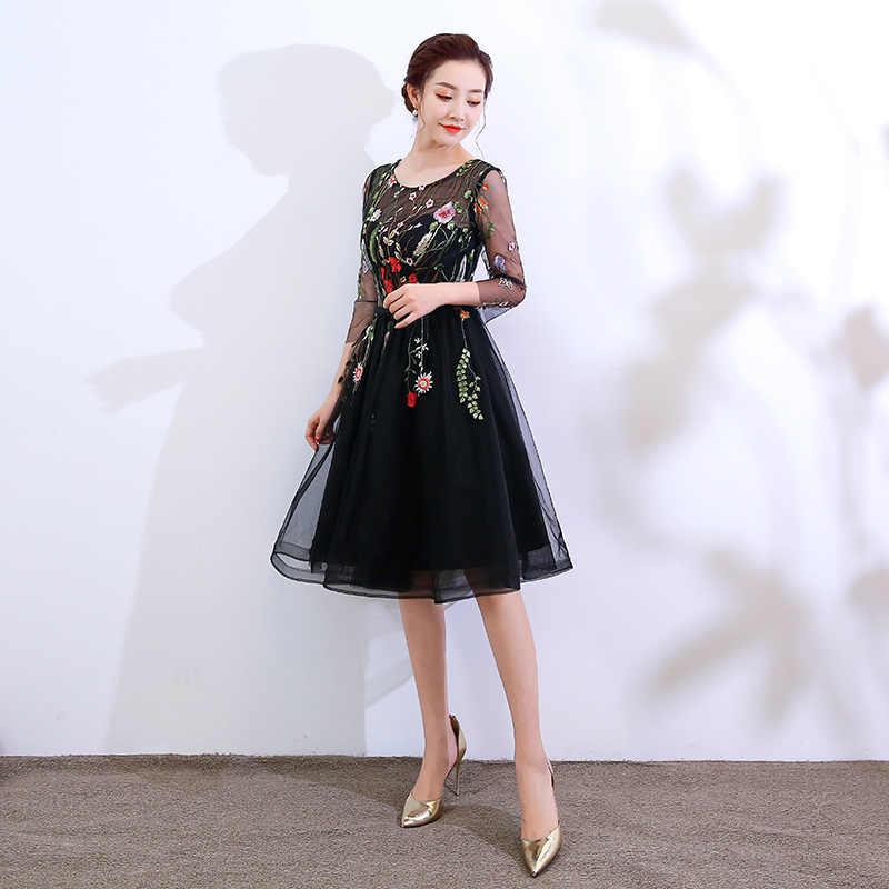 Ladybeauty Robe דה soiree 2018 O-צוואר תחרה קצרה שמלת ערב vestido דה festa בתוספת גודל מפלגה לנשף שמלות