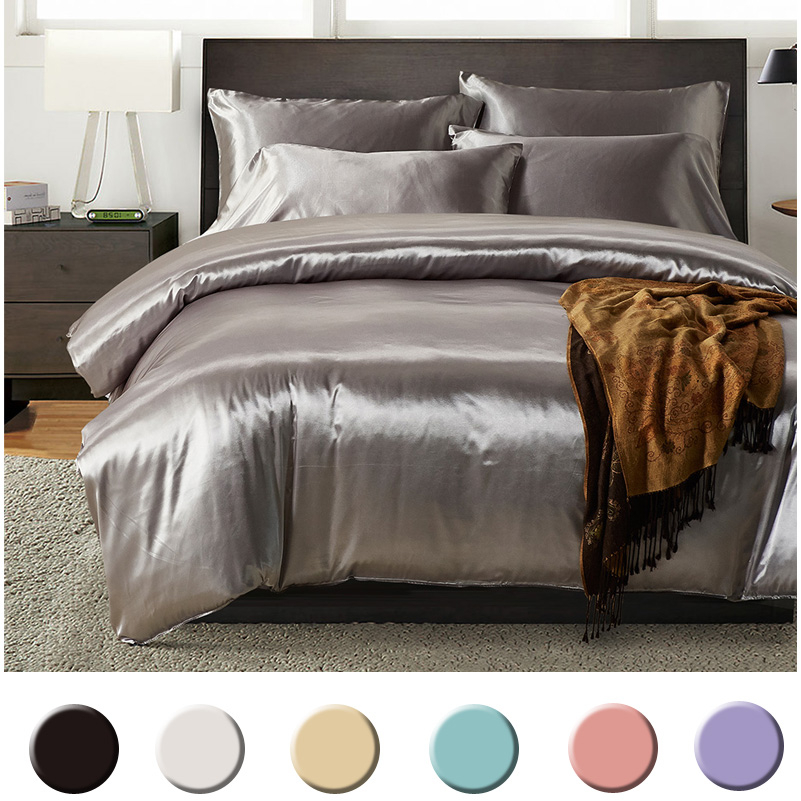 Super Soft Cool Silky Satin Duvet Cover Set TWIN/QUEEN/KING Size Bedding Bed linen Set 7 Colors Available