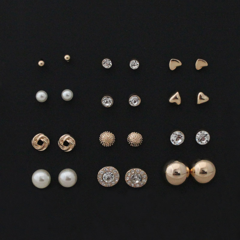 free shipping 12 pairs sets Round Square Ball Alloy Crystal Stud pearl Earrings For Women Hot selling Cute stud earrings Sets