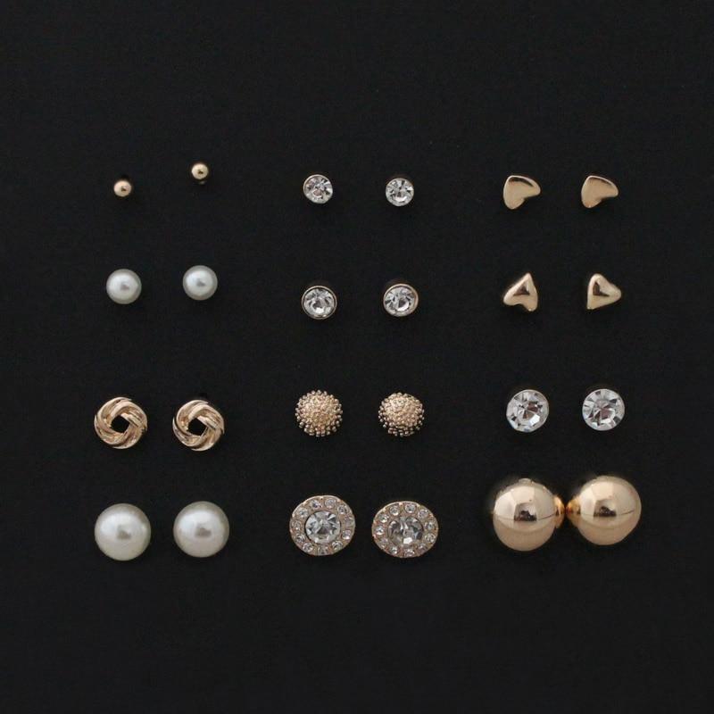Бесплатная доставка 12 пар Наборы для ухода за кожей круглый квадратный мяч сплава crystal стад жемчужина Серьги для Для женщин Лидер продаж милые серьги-гвоздики ASOS Наборы для ухода за кожей