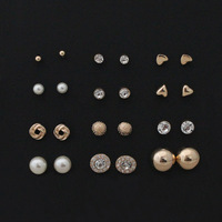 free shipping 12 pairs sets Round Square Ball Alloy Crystal Stud pearl Earrings For Women Hot-selling Cute stud earrings Sets