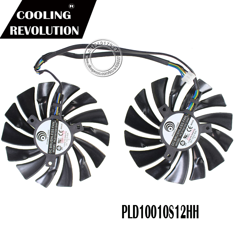 2pcs 95mm cooler fans  for ASUS DUAL-RX580-4G//8g graphics card bitcoin 4Pin