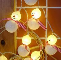 Снеговик света строки Фея LED Рождество Light Главная Сад Белый свет Санта питание от аккумулятора партии 3 В AA крытый огни