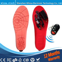 NEW heated Insoles With battery remote control Winter thick insole Wool Warm with fur shoes accessories EUR Size 41 46#