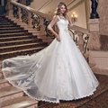 Wedding Dress Luxury Vintage Organza Lace 2017 Sequined Beaded Lace Appliques Half Sleeve Key Back Ball Gown Vestido De Noiva