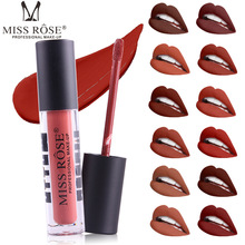 MISS ROSE Makeup 12 Color Waterproof Liquid Nude Matte Lip Gloss Transparent Tube Matte Black Cover Not Easy to Drop Lip Gloss