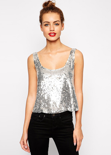 Sexy Summer Style Backless Slim Crop Top Silver Sequins Round Neck Sleeveless Tank Top Veest camisetas y tops D808