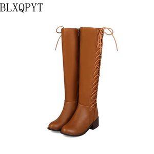 Image 4 - BLXQPYT 2018 New Big kích thước 33 50 khởi động phụ nữ Mùa Thu Mùa Đông ấm áp bottine femmes zapatos mujer giày Đầu Gối  cao người phụ nữ 2012