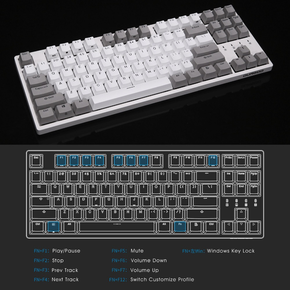DURGOD 87 TKL Gaming Mechanical Gaming Keyboard with Cherry MX Silver Switch PBT doubleshot Keycaps Anti Ghosting in Keyboard Mouse Combos from Computer Office