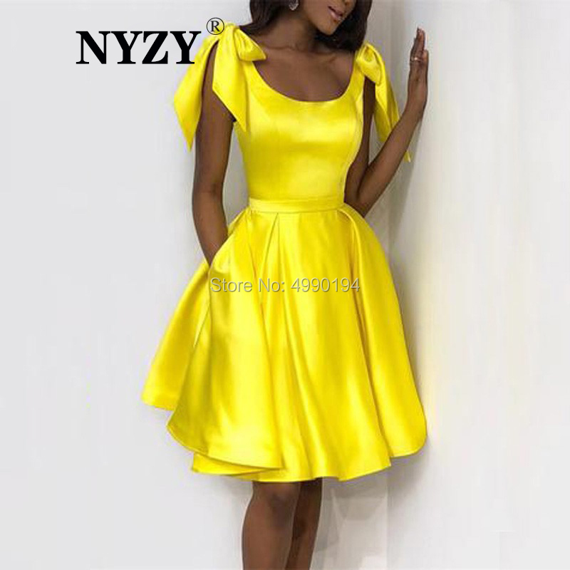 vestido curto Yellow   Cocktail     Dresses   NYZY C157 Satin Bow Straps Pocket   Dress   Party Homecoming Graduation robe de soiree courte