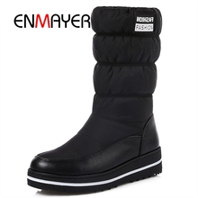 ENMAYER Plus size 35-44 new snow boots women warm cotton down shoes waterproof boots fur platform mid calf boots black CR960 цены онлайн