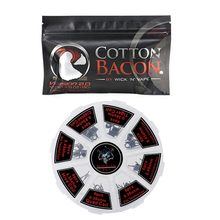 8 in 1 Prebuilt Coil with Vape Cotton Electronic Cigarette Organic Cotton Heating Wire Bacon Kendo Cotton for OBS ENGINE RTA(China)