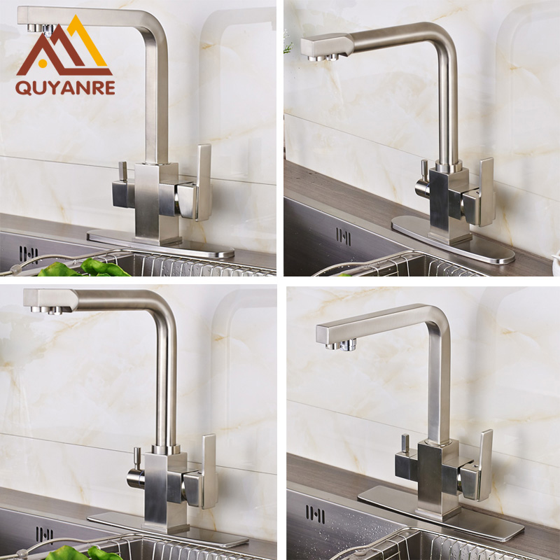New Kitchen Sink Faucet Tap Pure Water Filter Mixer Dual Handles with 6 Inch Hole Cover Plate Brushed nickle golden brass kitchen faucet dual handles vessel sink mixer tap swivel spout w pure water tap