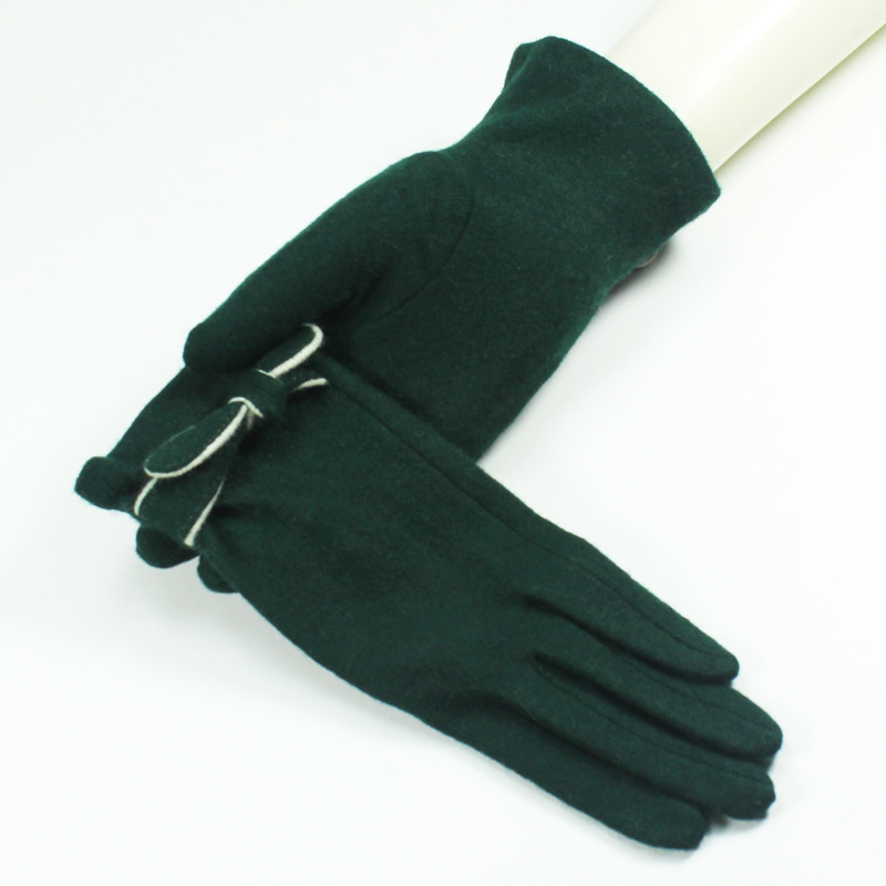 New Green Color Wool Cashmere Gloves Winter Warm Fashion Women Cashmere Short Gloves For Women