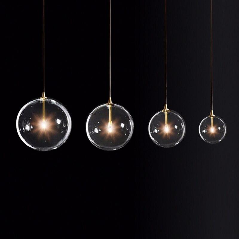 Image 3 - LukLoy Modern Bubble Clear Glass Ball Pendant Light Vintage Loft Kitchen Island Living Room Bedside Simple Retro Suspension Lamp-in Pendant Lights from Lights & Lighting