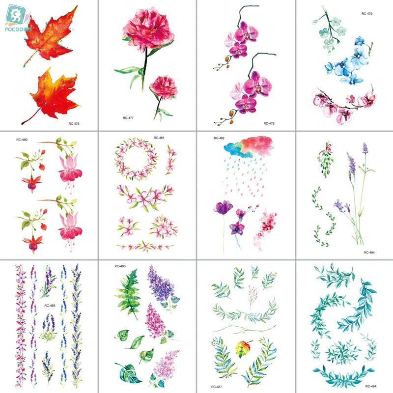 MB RC476-498 Water Proof Temporary Tattoo Stickers Cartoon Coloful Ink Flowers Leaf Fake Flash Taty Tatoo Tatouage