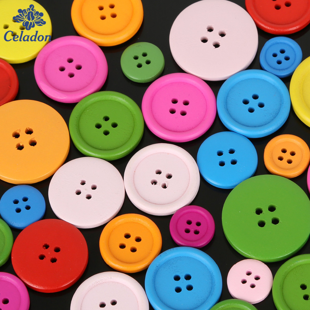 2017 New Style 20-100PCS Random Mixed 4 Holes Wooden Buttons Scrapbooking 15mm-30mm Decorative Buttons Apparel Sewing