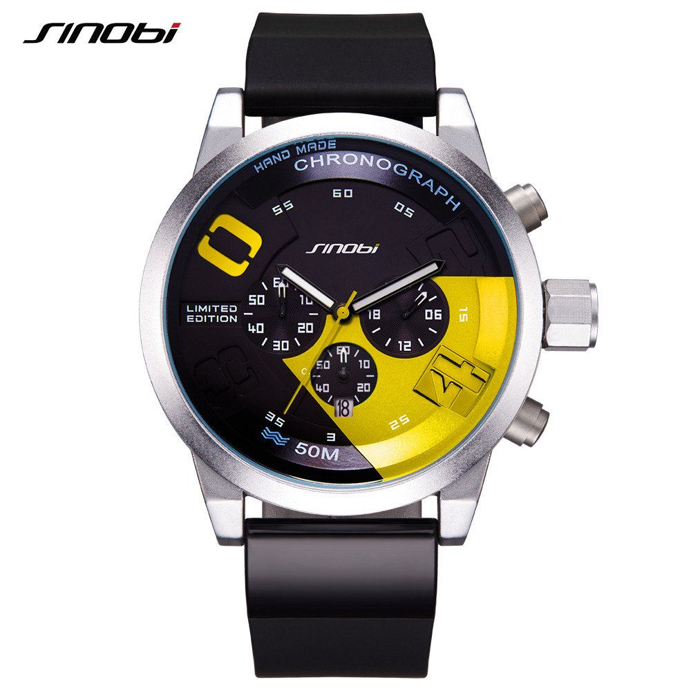 SINOBI Men's Sports Watches Waterproof Yellow Dial Man Full Steel Chronograph Quartz Wrist Watch 2017 Racing Relogio Masculino