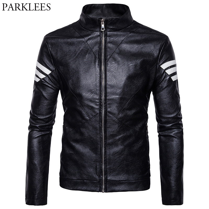 Cool Stand Collar Motorcycle Leather Jacket 2017 Men's Autumn Winter PU Leather Jacket Casual Pocket Zipper Mens Jackets Coats mens winter down jackets coats piumino peuterey wool collar double breasted jacket lapel pocket vertical multi pocket jacket