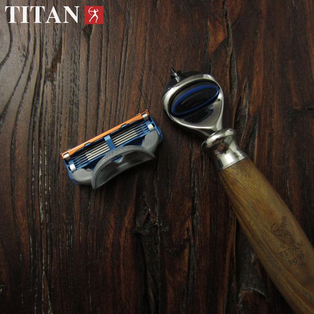 Razor Blades 5 capa de cuchillas de afeitar de afeitar para hombre alta calidad del envío de afeitar en mango de madera