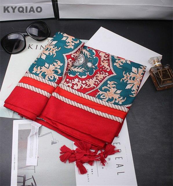 KYQIAO Ethnique foulard 2018 femmes printemps automne Espagne style  original hippie marque longue rouge imprimer écharpe f99be311774