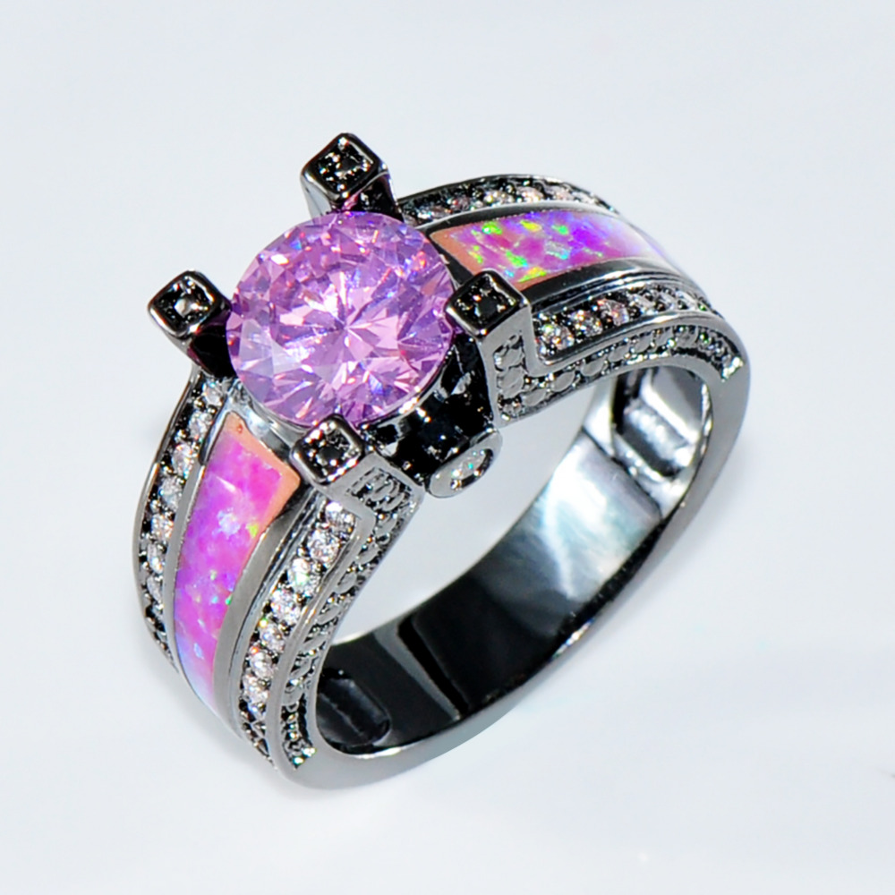 size 6789 women hot pink opal engagement rings pinkwhite cz 10kt black gold filled fashion wedding ring rb0258 in rings from jewelry accessories on - Black Opal Wedding Rings