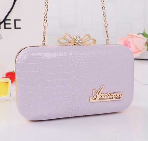New women messenger bag fashion elegant solid Alligator chain clutch bag punk flowers hasp women should bag evening party bag