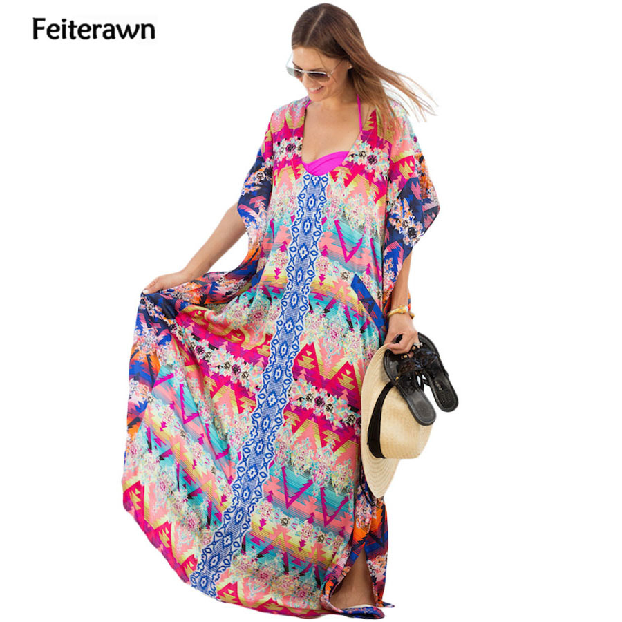 Feiterawn Women Multicolor Print Kaftan Beach Long Dress Tassel Chiffon Loose Beachwear Sexy Bikini Cover Up MX277
