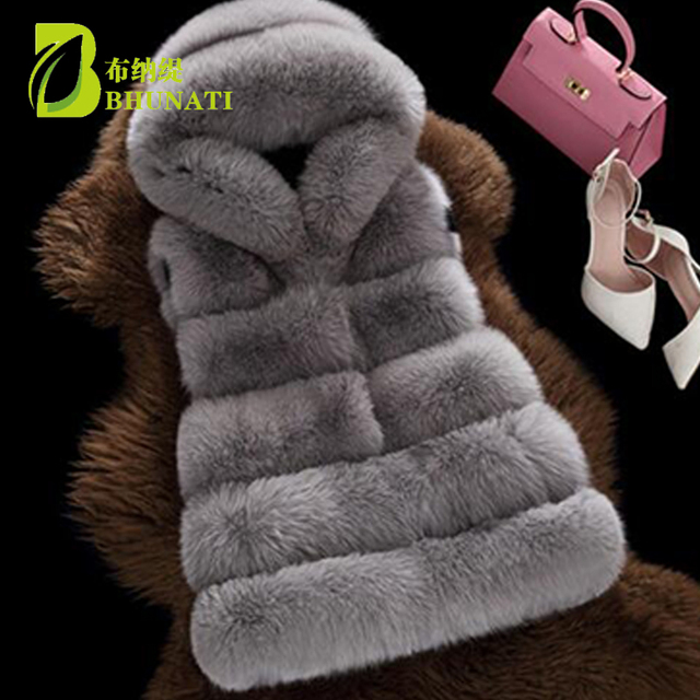 BHUNATI Fashion New Faux Fur Vest Women Hooded Medium long Vertical Solid Color Stripe Coat Artificial Fox Fur Large Size Jacket