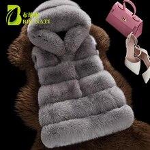 BHUNATI ファッション新フェイクファーベスト女性フード付き中 · 長期垂直無地ストライプコート人工キツネの毛皮大サイズジャケット