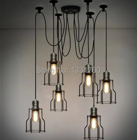 Edison filament 6 pcs chandelier RH pendant lamp LOFT American Country style lighting Vintage CAGE FILAMENT industrial light artevaluce светильник подвесной cage filament 15х24 см