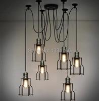 Edison нити 6 шт. люстра RH подвесной светильник Лофт Кантри стиль освещения Винтаж клетке нити industrial light