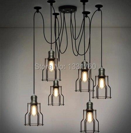 Edison filament 6 pièces lustre RH suspension lampe LOFT style américain éclairage Vintage CAGE FILAMENT lumière industrielle