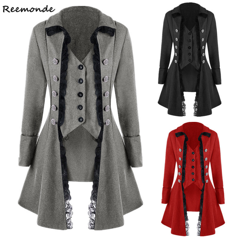 Adult Women Victorian Costumes Black Red Tuxedo Tailcoat Long Jacket Steampunk Irregularity Coat Frock Outfit Overcoat Uniform